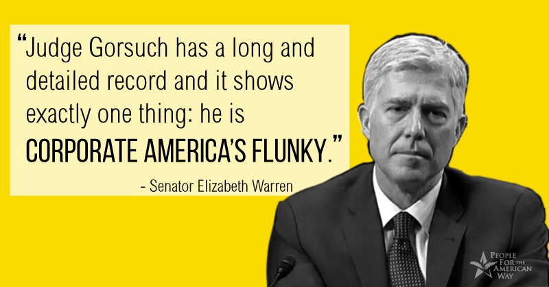 "Sen. Elizabeth Warren: Gorsuch is ""Corporate America's Flunky"""