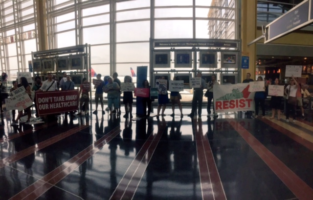 Image for Activists Send GOP Senators off with a Protest