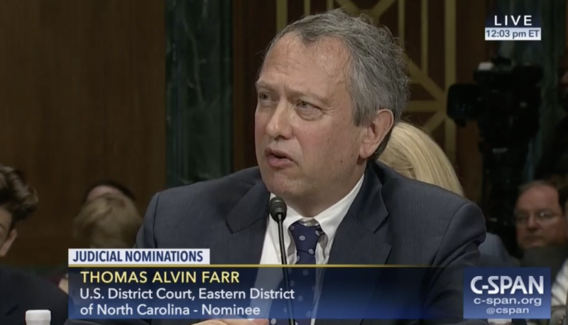 Image for Thomas Farr Shows that the Judiciary Committee Isn't Sufficiently Vetting Trump's Nominees