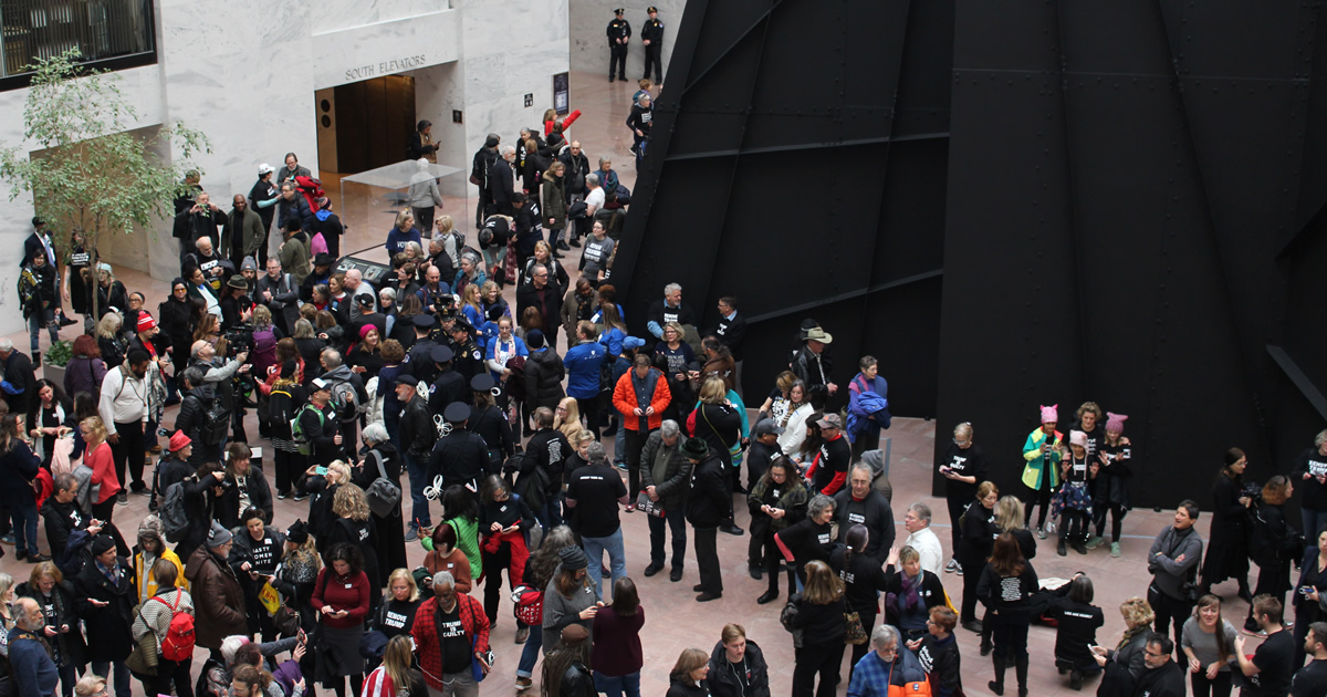 Activists gather in the atrium of the Hart Senate Office Building on January 29, 2020.