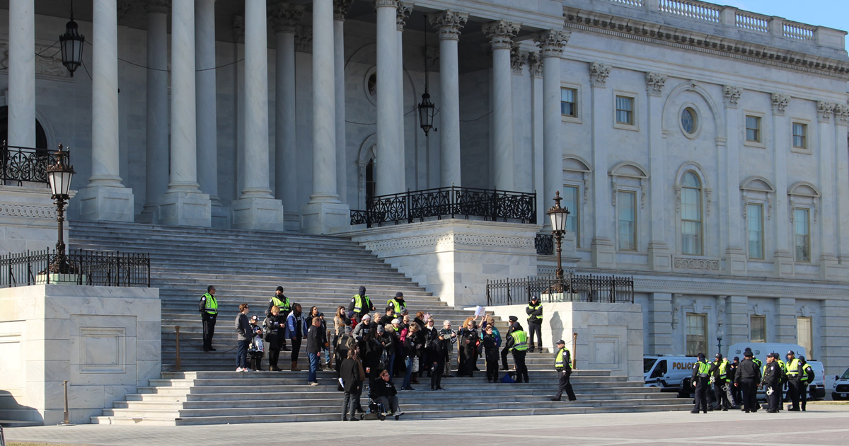 Activists stand on the steps of the U.S. Capitol on January 29, 2020.