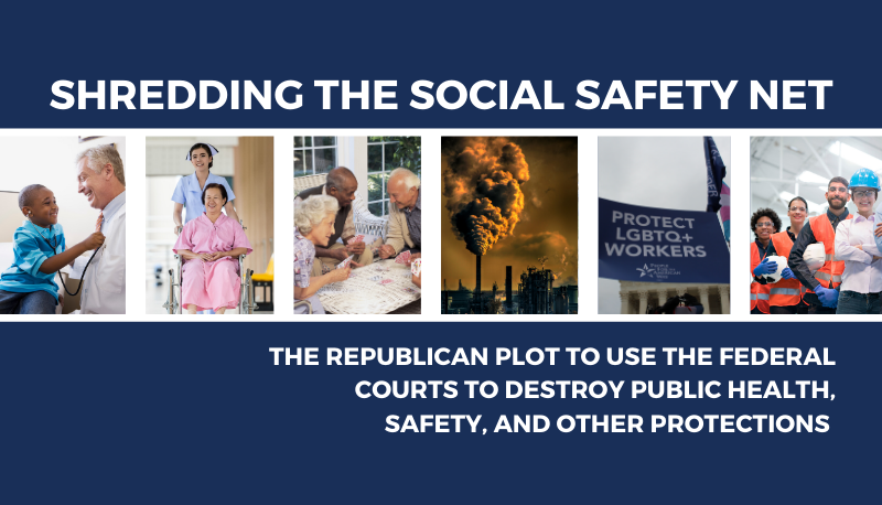 Image for Shredding the Social Safety Net: The Republican Plot to Use the Federal Courts to Destroy Public Health, Safety, and Other Protections
