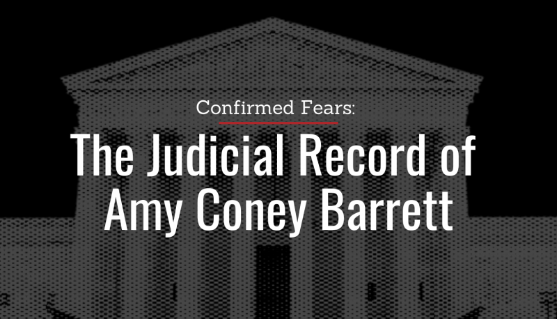 Image for Confirmed Fears: The Judicial Record of Amy Coney Barrett