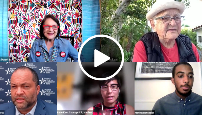 Image for People For Sounds the Alarm on the CA Recall with Norman Lear, Dolores Huerta