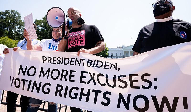 People For President Ben Jealous speaks at a protest outside the White House